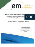 Chamada de Trabalhos Encontro Regional Nordeste - 2016