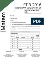 Matematik PT 3 PST 2016