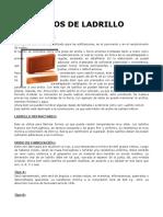 TIPOS de LADRILLO,Dimensiones y Aparejos