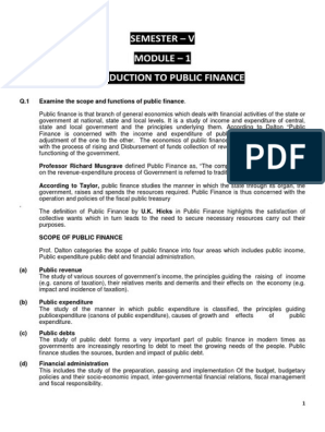 Role of Public Finance   Public Finance   Fiscal Policy