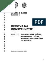 Evrokod 1 1 Zapreminske Tezine Opterecenja