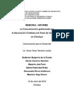 Memoria Informe ONG
