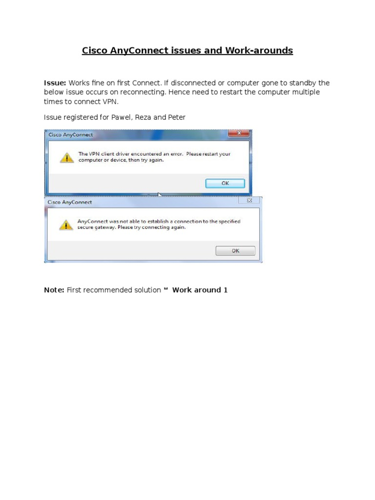 Cisco Anyconnect Login Failed Message