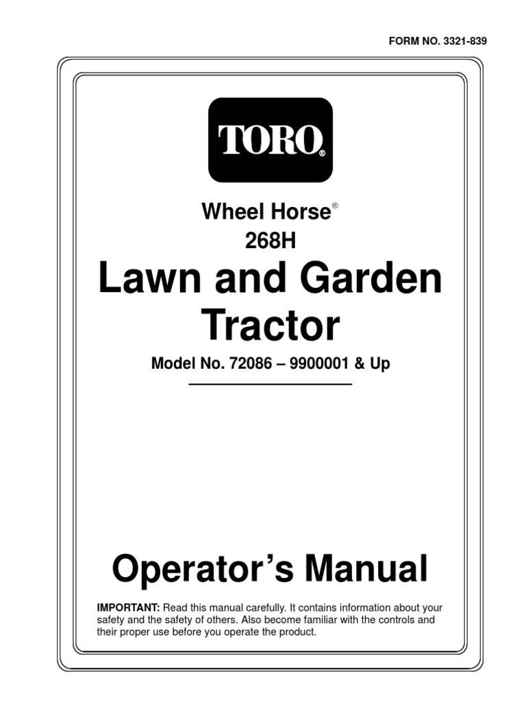 Toro Wheel Horse 268H Lawn and Garden Tractor Operators