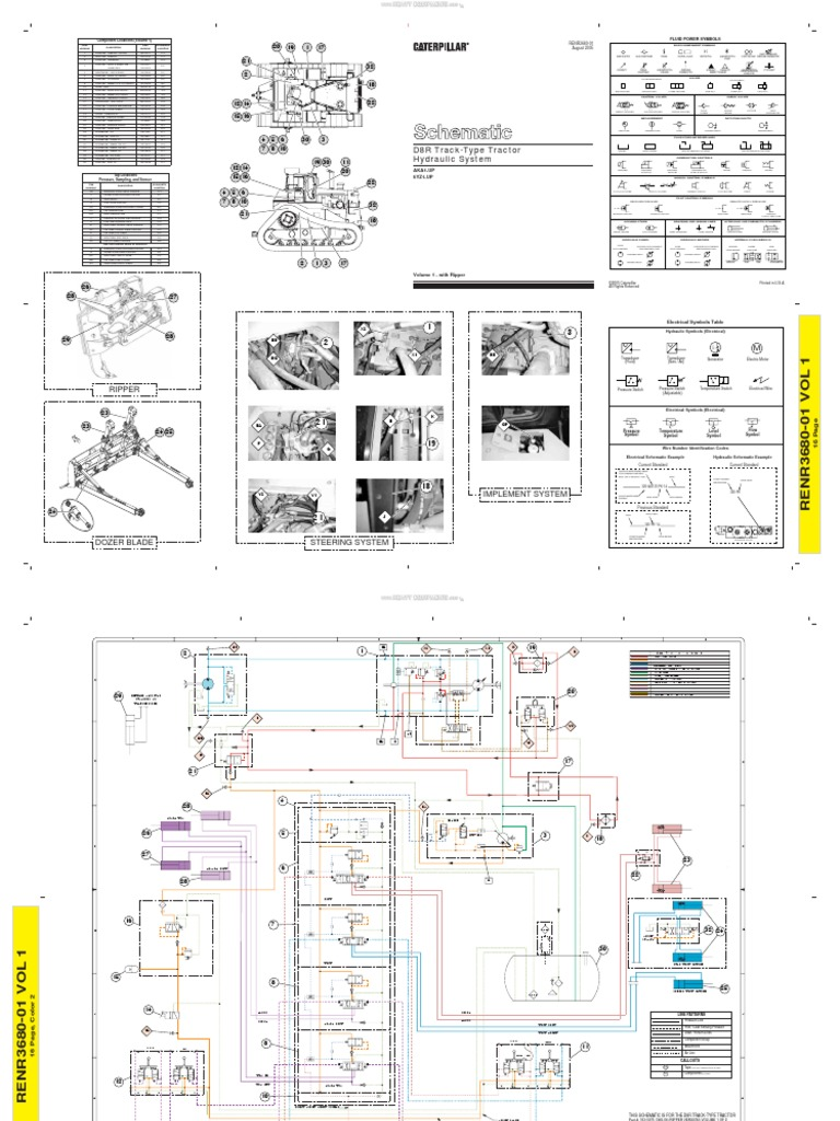 material schematic hydraulic system track type tractors d8r Caterpillar Hydraulic Diagram caterpillar hydraulic diagram wiring