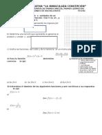 Prueba de matemáticas sobre funciones lineal y cuadrática para segundo bachillerato