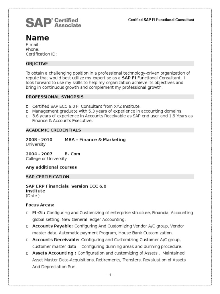 sample fresher resume of sap fi certified  sap se  banks