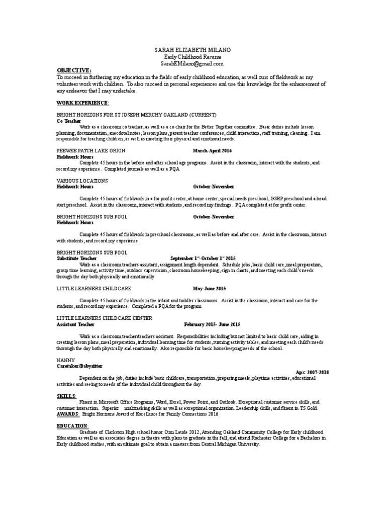early childhood resume | Child Care | Relationships & Parenting