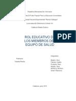 Informe Rol Educativo de Los Miembros Del Equipo de Salud