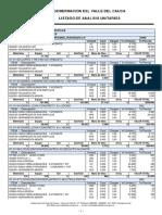 Listado de Analisis Unitarios 2016