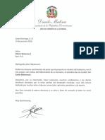 Carta de Condolencias del Presidente Danilo Medina a Héctor Betancourt por Fallecimiento de su Hermano, Carlos Betancourt, Exsíndico de Baní
