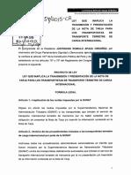 PROYECTO DE LEY N° 5354  LEY QUE INAPLICA LA TRANSMISIÓN Y PRESENTACIÓN DE LA NOTA DE TARJA PARA LOS TRANSPORTISTAS DE TRANSPORTE TERRESTRE DE CARGA INTERNACIONAL