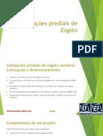 CURSO EAD - Instalações Prediais Hidráulicas - Esgoto