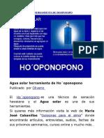 Agua Solar Como Herramienta de Hooponopo