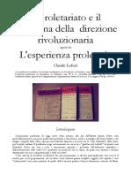 Lefort - Il Proletariato e Il Problema Della Direzione, l'Esperienza Proletaria