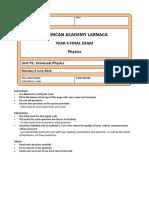 Pearson Edexcel GCSE 2011 Physics P1 final exam with mark scheme 15_16