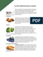 10 Alimentos Más Nutritivos Para El Cuerpo