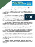 june29.2016 bLawmakers to pursue revised National Apprenticeship Program
