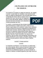 Animales en Peligro de Extinción en Oaxaca