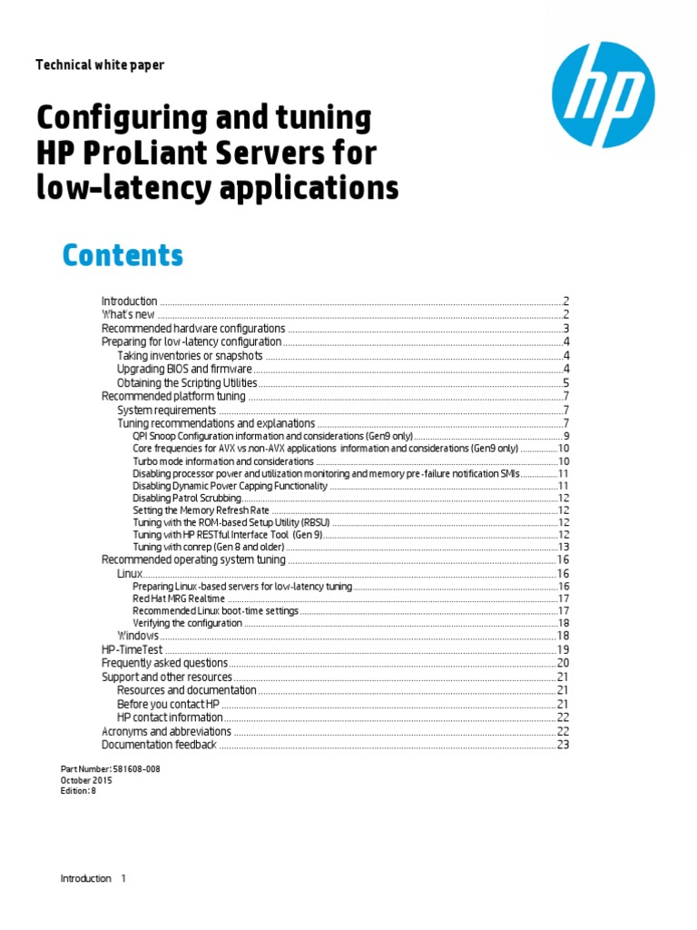 HP Proliant Servers Low Latency Applications | Central