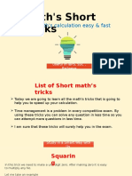 Maths Short Tricks