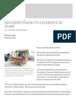San Isidro Parish to Celebrate 40 Years _ U Matuna Si Yu'Os
