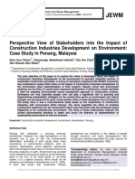 Perspective View of Stakeholders into the Impact of Construction Industries Development on Environment