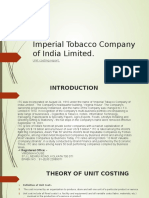 Imperial Tobacco Company of India Limited (unit costing)