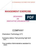 EXCERCISE -2 DESIGNING INNOVATIVE ORGANISATION