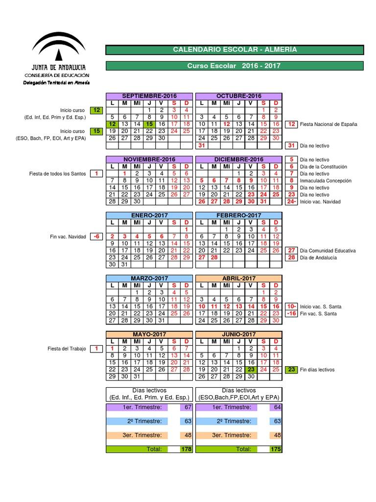 Calendario Escolar Huelva.Calendario Escolar Almeria 2016 2017 Notilogia