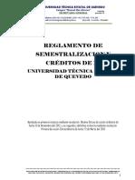 Reglamento de Semestralizacion y Créditos de La Uteq