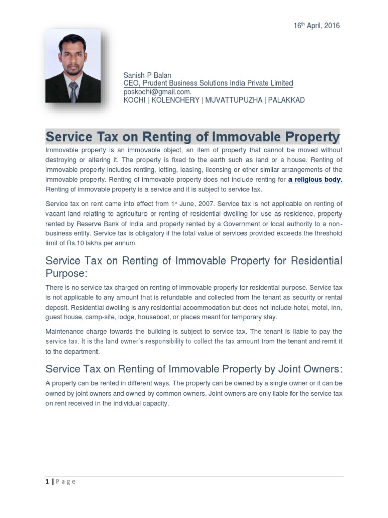 Article on Service Tax & TDS on Renting of Immovable