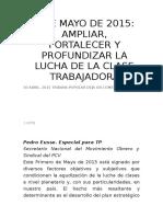 1º de Mayo de 2015 Ampliar, Fortalecer y Profundizar La Lucha de La Clase Trabajadora