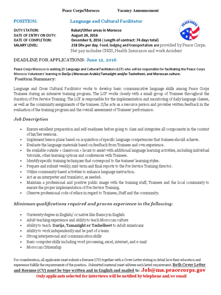 peace corps language and cultural facilitator 1lcf announcement 2016 morocco peace corps