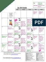 SCDNF July 2016 Schedule
