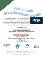 Spanish Community Mental Health Conversation Flyer