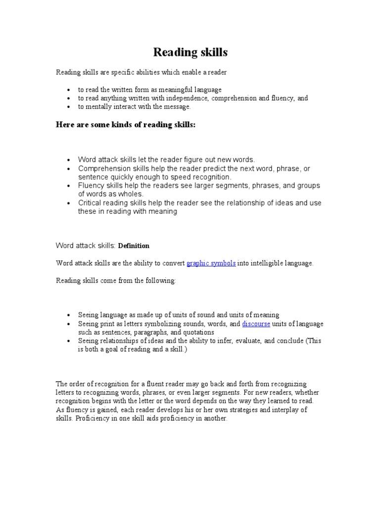 Reading Skills Reading Comprehension Reading Process
