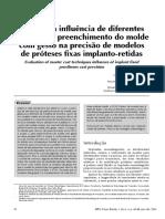 Análise Da Influência de Diferentes Tecnicas de Preenchimento Do Molde Com Gesso