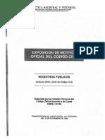 Exposicion de Motivos Oficial del Codigo Civil - Registros Publicos