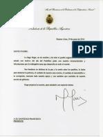Carta Del Sr. Presidente de La Nación a Su Santidad El Papa Francisco
