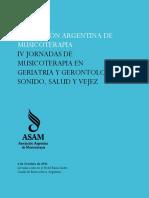 Actas de Las IV Jornadas de Musicoterapia en Geriatria y Gerontologia