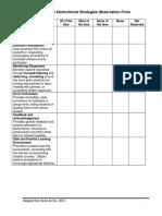 10.0 Effective Instruction Observation Form
