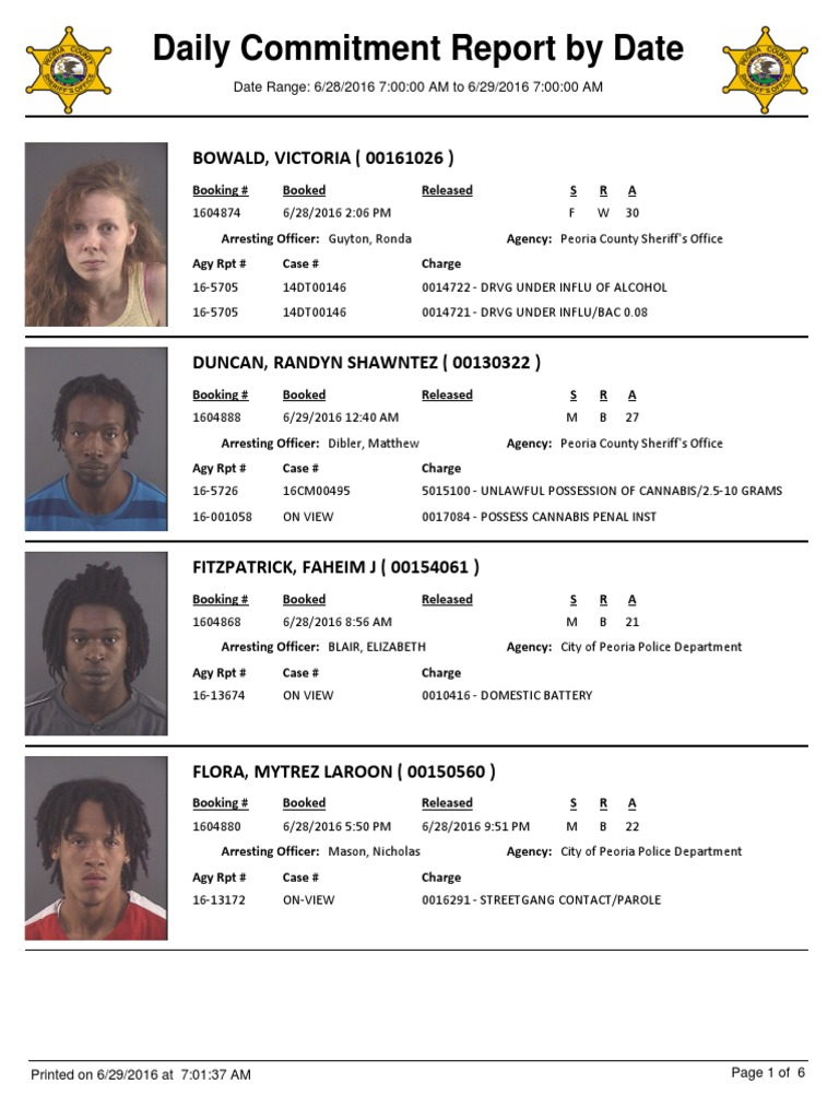 Peoria County Jail Booking Sheet Crimes Criminal Law