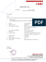 Inspection Call- RAW MATL Inspection