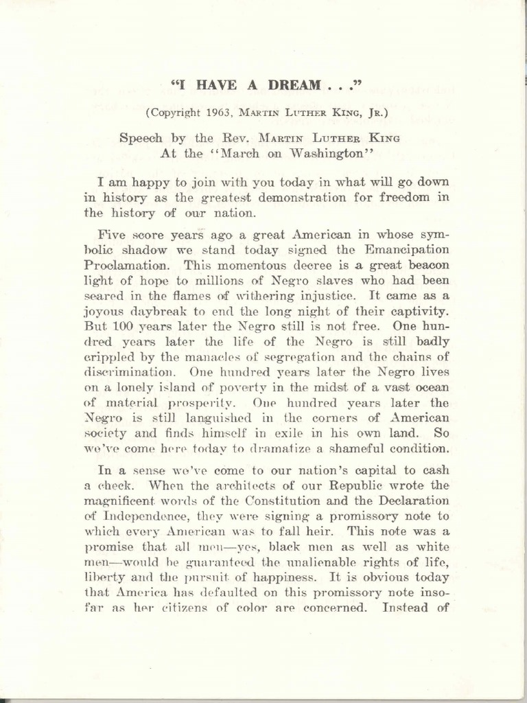 Martin Luther King I Have A Dream Speech Pdf