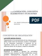 Organización, Concepto Elementos y Funciones
