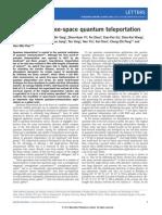 Experimental Free-space Quantum Teleportation - WWW.OLOSCIENCE.COM