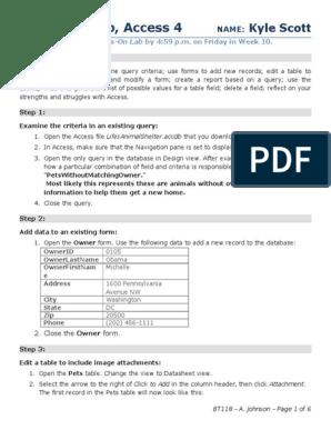 BT118 Lab Access 4(2)   Information Retrieval   Databases