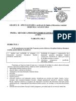 Subiecte Gradul II Profesori LITERE Bacau