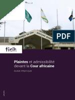 Plaintes et admissibilité devant la Cour africaine